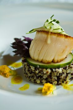 Pan Seared Diver Scallops with Leeks, Quinoa and Warm Cumin Vinaigrette  #scallops #food #catering