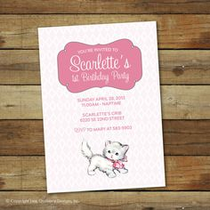 vintage kitten birthday party invitation  by saralukecreative, $16.00