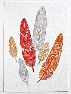 Fire Feathers - Watercolor Painting - Modern Art - Small Archival Print - Orange, Red, Gray by RiverLuna on Etsy