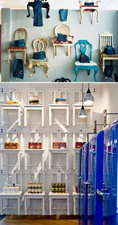 Stylish chairs make a difference in retail design. Love the idea of the vintagey colorful chairs as display shelves.would be hard to make myself stick them to a wall though! Visual Display, Display Design, Store Design, Visual Merchandising, Design Comercial, Store Concept, Vitrine Design, Decoration Vitrine, Stylish Chairs