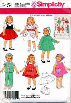 SIMPLICITY SEWING PATTERN 2454 VINTAGE RE-ISSUE DOLL CLOTHES 41CM/16  & 46CM/18