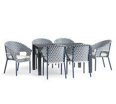 Indio Metal Slate Dining Table & Palmetto Geo Print Chair Dining Set   Pottery Barn