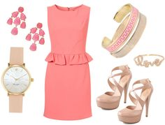 "Peplum and Peachy Pink. Featuring Topshop Peplum dress, Kate Spade ""Metro"" watch, Kate Spade ""New York"" Chandelier earrings, nude Alejandro Ingelmo ""Jayne"" crisscross mary jane pumps, Sydney Evan rose gold ring, Marc by Marc Jacobs enamel bangle, and Lisa Stewart ""Modern Myth"" pink bangle"