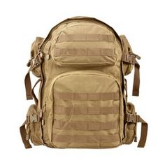 """Tactical Backpack  Main pocket: 18"""" H x 12"""" W x 6"""" D Side pockets, two each side: 5"""" H x 5"""" W x 1½"""" D Front pockets: Top 8"""" H x 4½"""" W x 2"""" D & Bottom 9½""""H x 9½""""W x 3"""" D PALS compatible webbing on the front pockets and bottom of the back pack, PVC construction, Heavy Duty zippers, Hydration bladder compatible, with a separate initial Padded shoulder straps with D-rings. Heavy Duty carry straps on the top and side. Adjustable compression straps on sides,"""