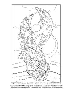 free coloring page dolphin ocean sea life from the seeking serenity adult coloring book by rebecca - Dolphin Coloring Book