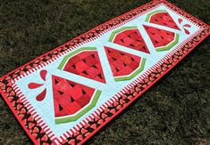 Table Runner And Placemats, Quilted Table Runners, Quilted Table Runner Patterns, Quilting Tutorials, Quilting Designs, Quilting Ideas, Hand Quilting, Watermelon Quilt, Watermelon Ideas
