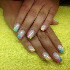 Nail art summer Source by co_s Fancy Nail Art, Neon Nail Art, Rainbow Nail Art, Fancy Nails, Trendy Nails, Nail Art Designs, Elegant Nail Designs, Acrylic Nail Designs, Aqua Nails