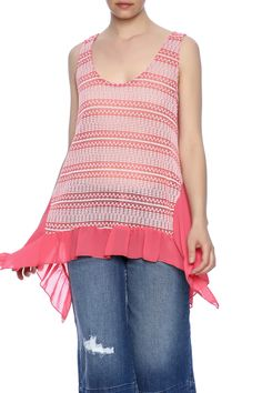 Two-tone delicately woven pattern tank with a chiffon ruffled bottom and scoop neck.  Amelia Tank by Entro. Clothing - Tops - Tees & Tanks Clothing - Tops - Sleeveless New York