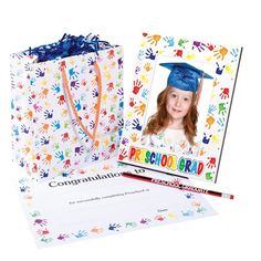 Preschool Handprints Gift Set - Here is a very affordable gift set for Preschoolers to celebrate their big day. Preschool Graduation Gifts, Kindergarten Graduation, Graduation Cap And Gown, Stage Decorations, Early Childhood, Gift Bags, Big Day, Congratulations, Presents