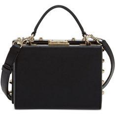 Guess Hanson Trunk Bag ($88) ❤ liked on Polyvore featuring bags, handbags, black, studded handbags, strap bag, mini bag, strap purse and mini purse