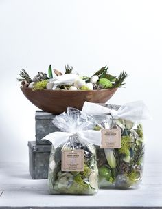 White Amaryllis and Rosemary Decorative Fragrance by Aromatique- Filling a Bowl or Cool Container with these Botanicals will Make Your Home Smell of White Amaryllis Blossoms Enveloped with Rosemary.