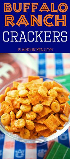 Buffalo Ranch Crackers - SO good! Great for parties or on top of soups and chili. Oyster crackers, Cheez-its, ranch mix, oil and buffalo sauce. Makes a ton. We always have a bag in the pantry. Oyster Cracker Snack, Seasoned Oyster Crackers, Ranch Oyster Crackers, Appetizer Recipes, Snack Recipes, Cooking Recipes, Mini Appetizers, What's Cooking, Looney Tunes