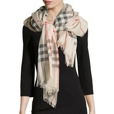 """Burberry.  Giant Check Gauze Scarf, Stone.  Burberry giant check scarf in gauze.  Approx.  87""""L x 28""""W (220 x 70cm).  Lightly fringed edges.  Wool/silk.  Made …"""