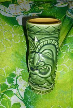 Great Green Older Laughing Guy Vintage Tiki Mug OMC