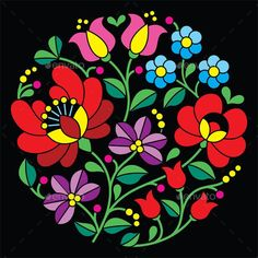 Kalocsai embroidery - Hungarian round floral folk - Patterns Decorative