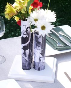 Photo bud vase from a piece of PVC pipe...  Too cute!