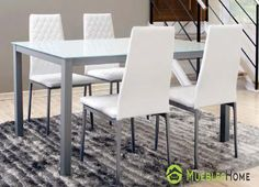 Mesa Comedor color blanco + 4 sillas Tapizadas. Lo que más te sorprenderá es su precio, ingresa y descubrelo. #mesacomedor #mesablanca