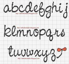 Alfabeto - Alphabet a-z Cross Stitch Alphabet Patterns, Embroidery Alphabet, Cross Stitch Letters, Cute Cross Stitch, Cross Stitch Charts, Stitch Patterns, Cross Stitch Font, Cross Stitching, Cross Stitch Embroidery