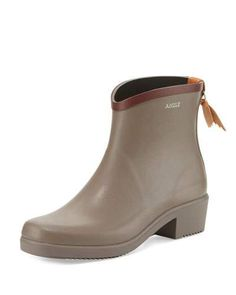 S0FNH Aigle Miss Juliette Rubber Ankle Boot, Taupe