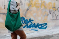 corduroy green-dark blue double sided bag with zipper