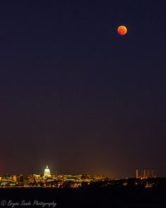 Blood Moon over Madison by bryon sande