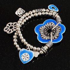 2-Strand Blue Floral Charm Bead Flex Bracelet (Antique Silver Tone) - main view