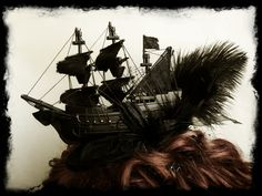 Black Gothic Galleon Ship Fascinator Hat.. $129.00, via Etsy. - I couldn't pull this off, but it's so cool!