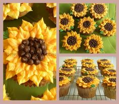 Sunflower Cupcakes! I want these for my birthday! Carrot cake ones, yumm
