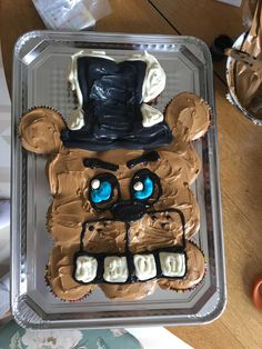 Five nights at Freddy's cupcake cake FNAF Bear Birthday, Sons Birthday, 6th Birthday Parties, Birthday Ideas, Fnaf Cupcakes, Birthday Cupcakes, Cupcake Cakes, Fnaf Cakes Birthdays, Fnaf Crafts