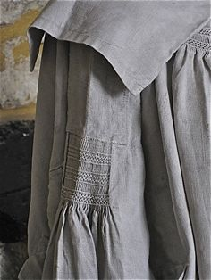 Detail of Antique Early 1800s Shepherds/Farm Workers Smock.  Check out the…