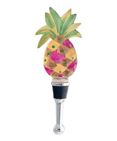 6'' Pineapple Color Glass Wine Bottle Stopper .  ...  $8.99  . LS Arts .  ...   Product Description:  Cap that nectar of the vine with this sparkly pineapple-shaped wine bottle stopper to give your wine a tropical look between pours.      6'' H x 2'' diameter  .     Glass / metal  .     Hand wash  .     Imported