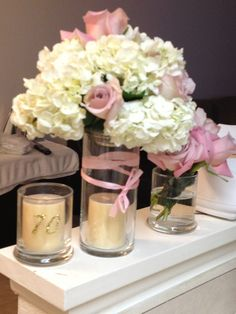 Roses And Hydrangeas Go Very Well Together Im Working On A Centerpiece For 70th Birthday Party Ideas