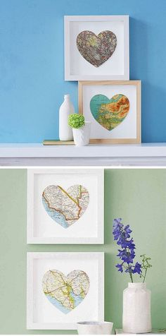 i did this with 3 hearts side by side in the same frame - one with Cali. one with brasil. one with Oregon. it's in the middle of a photo collage on my living room wall. we LOVE it!