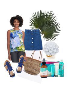"""""""Blue Florals"""" by ladyjcmuses ❤ liked on Polyvore featuring Swahili African Modern, Kenneth Jay Lane, Miss Selfridge, Dorothy Perkins, COOLA Suncare and Maroc"""