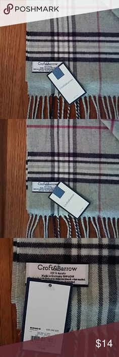 """Just in! NWT Plaid Scarf NWT CROFT & BARROW plaid scarf. Light gray, dark purple, pink, ivory. 100% acrylic, feels like cashmere to the touch. Made in Germany. 11.5"""" x 58"""" croft & barrow Accessories Scarves & Wraps"""