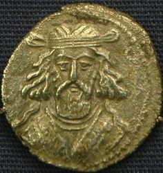 the bronze coin of parthian king Artabanus II, ca 150 AD.