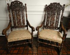 Superbe Pair Of Jacobean Style Walnut Armchairs On. JacobeanVintage  FurnitureClevelandArmchairsAuctionNumberCouchesWing ...