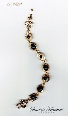 Vintage 14k Gold Jet Black Onyx Stone Bracelet $49.99