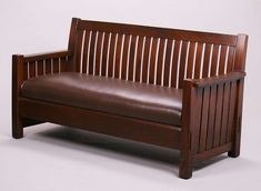 L&JG Stickley settle with 22 curved back slats 6 slats under each arm. Great th… L&JG Stickley settle with 22 curved back slats 6 slats under each arm. Great through tenon construction. Wooden Couch, Wooden Pallet Furniture, Wood Sofa, Wooden Armchair, Shoe Rack Furniture, Furniture Sofa Set, Craftsman Style Furniture, Wooden Sofa Set Designs, Leather Corner Sofa