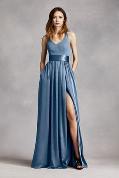 Dreaming of your bridal party wearing Vera Wang bridesmaid dresses on the big day? Shop at David's Bridal to find affordable Vera Wang bridesmaid dresses! Steel Blue Bridesmaid Dresses, Vera Wang Bridesmaid Dresses, Bridesmaid Dress Colors, Bridesmaid Ideas, Blue Bridesmaids, Wedding Bridesmaids, Halter Gown, Strapless Dress Formal, Dress Prom
