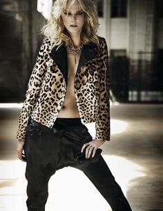 leopard print jacket, silk harem pants