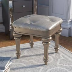 Find the perfect Annunziata Vanity Stool By Willa Arlo Interiors Vanity Table Set, Vanity Set With Mirror, Vanity Stool, Desk Set, Accent Furniture, Bedroom Furniture, Stool Covers, Brown And Grey, Upholstery