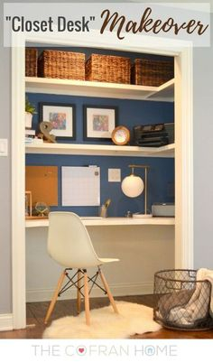 """A few years ago, we had one of our closets turned into a little secret """"home office"""" work space.   We added some built-in shelves and a desktop into the closet.…"""