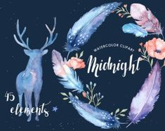 Midnight Watercolor Cliparts Graphics The set of high quality hand painted watercolor feathers, leaves and elements images in bright and f by everysunsun Watercolor Feather, Watercolor Plants, Butterfly Watercolor, Watercolor And Ink, Pot Image, Cactus, Tribal Feather, Wedding Clip, Chic Wedding