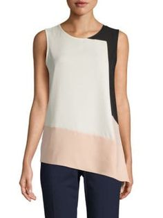 Calvin Klein Collection Asymmetric Hem Colorblock Top In Black Blush Calvin Klein Collection, Color Blocking, Black Tops, Blush, Tunic Tops, Stylish, How To Wear, Clothes, Shopping