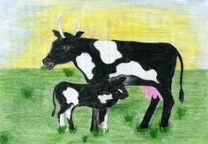 Waldorf ~ 4th grade ~ Human & Animal ~ Cow ~ main lesson book Blackboard Drawing, Waldorf Education, 5th Grades, Life Science, Fourth Grade, Animal Kingdom, Watercolor Paintings, Homeschool, Moose Art