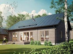 Myrsky is a modern, Scandinavian-style log house that is at home both in densely populated urban areas and deep in the countryside. Modern Wooden House, Modern Tiny House, Tiny House Cabin, Cottage Design, House Design, Modern Farmhouse Exterior, Solar House, Dream House Exterior, Scandinavian Home
