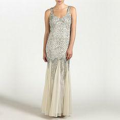 Ariella London Champagne Serafina Beaded/Sequin Long Dress- at Debenhams.com