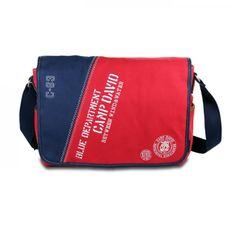 mynewbag.de - #CAMP DAVID Deep River Große Unisex Canvas #Messenger #Bag #Umhängetasche rot blau