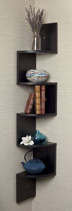 Corner shelves add so much space to the room!